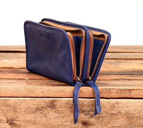 Eléctrico cuero Azul vintage portafolio femenina MON PAUL MARIUS estilo de COMPAGNON EYqO4