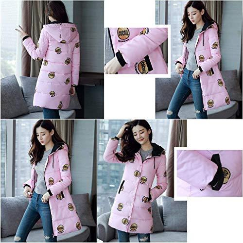 Caldo Donne Donna Cappotti Giubotto Qualità Pattern Pink Cerniera Alta Di Stampate Tasche Coulisse Moda Con Lunga Mantello Classiche Piumini Invernali Anteriori Cappuccio FRnBEE