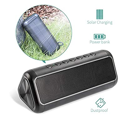 Solar Bluetooth Speaker with 5000mAh Power Bank, Elzle Portable Outdoor Bluetooth Speaker with 20+ Hours Playtime Stereo Subwoofer Bass, Dustproof & Waterproof Loud Wireless Speaker for Outdoor & Home