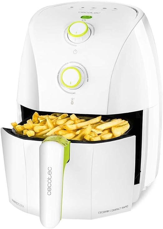 Cecotec Freidora dietética Cecofry Compact Rapid White.Capacidad para 400 gr de patatas, temperatura 200ºC, tiempo ajustable 0-30 min, incluye ...