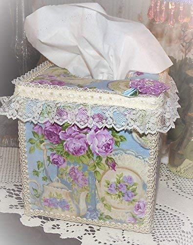 rple Violet Chic Roses Blue Tissue Cover Ivory Lace ()