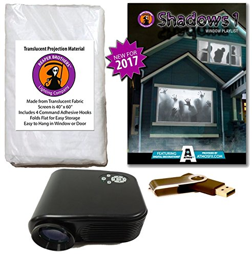 AtmosFearFX SHADOWS 1 Compilation Video Projector Kit on USB. Includes effects from Bone Chillers, Shades of Evil, Tricks or Treats, Night Stalkers and Zombie Invasion -