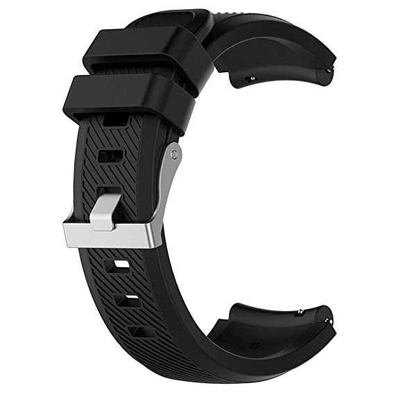 Goodfeng Soft Silicone Wristband Strap Replacemend for ZTE Quartz ZW10 Smart Watch for Mens Women Wristband Strap (Black L)