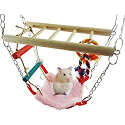 Hamster Suspension Bridge Rat Bridge with Ladder Toy Wooden Hanging Swing Bed House Hammock for Bird Parrot Squirrel Hamster Guinea Pigs Mice Cage Toy (Color Random)
