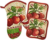 Apple Kitchen Design Oven Mitt & Potholder Set