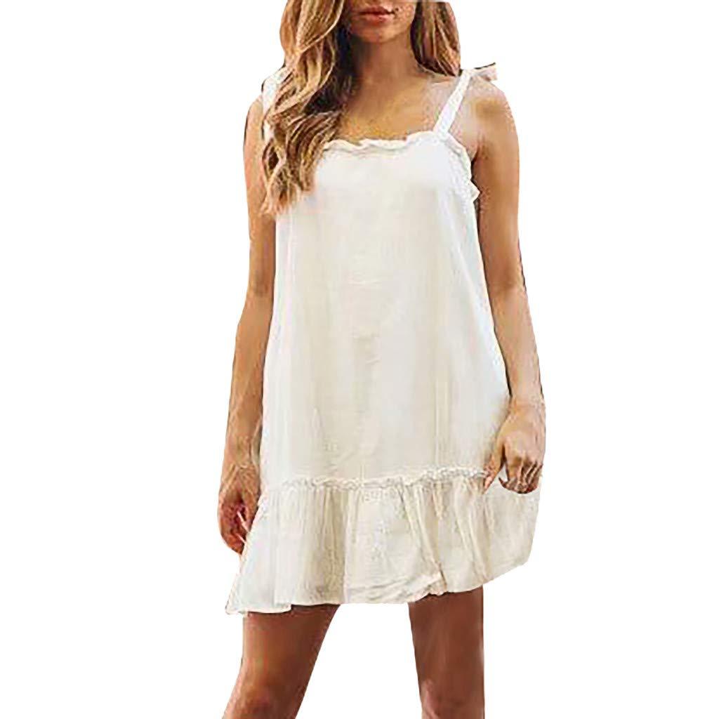 Serzul Women Boho Floral Print Sleeveless Mini Dress Ruffles Camisole Long Dress Summer Party Beach Sundress Beige