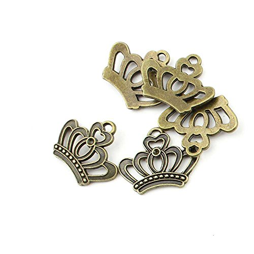 75 pieces Anti-Brass Fashion Jewelry Making Charms 1472 Imperial Crown Wholesale Supplies Pendant Craft DIY Vintage Alloys Necklace Bulk Supply Findings - Charm Pendant Crown Necklace