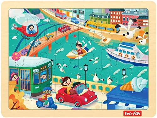 Puzzle for Toddlers and Kids Ages 3-5 24 Piece City Traffic Jigsaw Puzzle 3 Years Old Wooden Puzzle