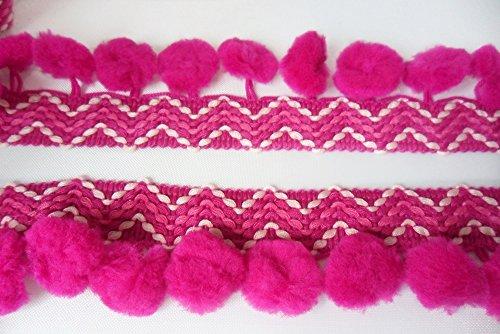 ZigZag Hot Pink Pompom Fringe Dangle Trim Puff Bobble Ball Braid Tape Sewing Craft Supplies - Dangle Lace