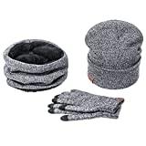 EVRFELAN Beanie Hat Scarf Set for Men Winter Warm Knit Infinity Scarf Hat Touch Screen Gloves Set (Light Gray)