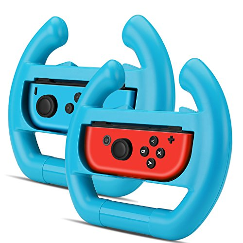 TNP Joy-Con Wheel Controller for Nintendo Switch (Set of 2) - Racing Steering Wheel Controller Accessory Grip Handle Kit Attachment (Blue) - Nintendo Switch