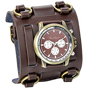 jewelrywe hip hop gothic punk leathernk style men watch big brown leather cuff wrist. Black Bedroom Furniture Sets. Home Design Ideas