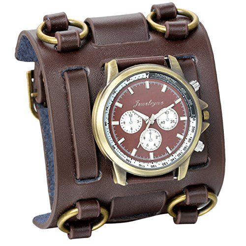 JewelryWe Hip-hop Gothic Punk Leathernk Style Men Watch Big Brown Leather Cuff Wrist Watch for Xmas Christmas (Cuff Christmas Watch)
