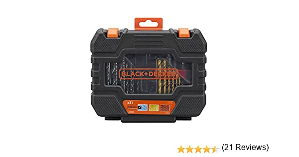 Juego de 31 Piezas para Atornillar y Taladrar Titanio en Malet/ín de f/ácil transporte Black+Decker A7233-XJ