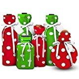 Fabric Wine Bags- | Stretchy Fabric and Eco Friendly | Red & Green Polka Dots(Set of 6 with Gift Tags and Satin Bows) One Size Fits Most Bottles, Perfume, Infused Oils, Candles