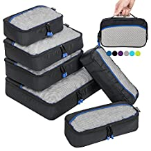 6 Set Packing Cubes for Travel Carry On Luggage Organizer Bags Cubes (Black)