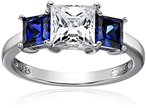 Platinum-Plated Sterling Silver Swarovski Zirconia Princess Center Stone with Created Sapphire Accent Ring