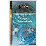 Feadóg Brass Traditional Irish Tin Whistle in the Key of D with Tutor Book with CD
