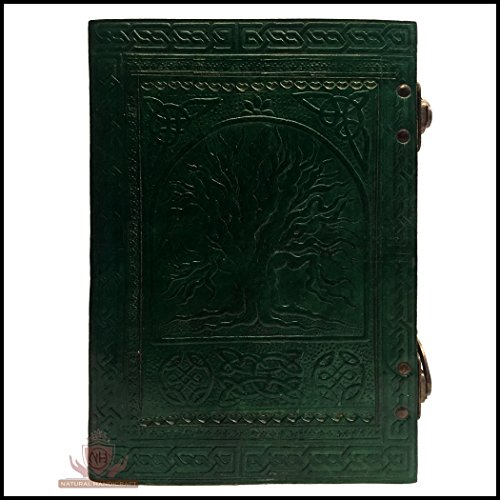 Natural Handicraft Leather Journal Embossed Tree of Life Book of Shadows Celtic Notebook Diary Organizer College Book Planner Poetry Book Scheduler Sketch Book with Double C-Lock 7