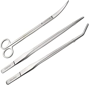 FEITA Aquarium Tweezer Set Long Stainless Steel Curved & Straight Aquarium Feeding Tweezers Scissors Maintenance Tools Kit (3 Pcs)