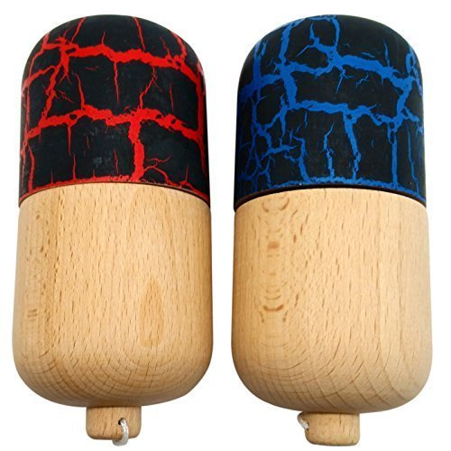 2 PACK - KENDAMA TOY CO. - The Best Kendama Pill For All Kinds Of Fun - Awesome Colors: Wood, Black/Red (top) and Black/Blue (top) Kendama Pill Set - Solid Wood - A Tool To Create Better Hand And Eye Coordination (Awesome Wood)