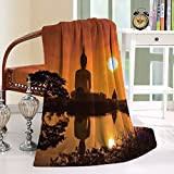HAIXIA Throw Blanket Asian Big Giant Statue by the River at Sunset Thai Asian Culture Scenery Zen Burnt Orange