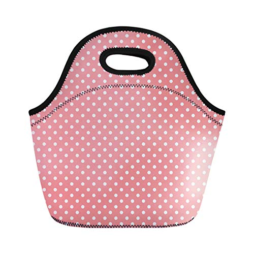 Semtomn Lunch Tote Bag Red 300 for Light Pink Polka Dots Pattern Baner Reusable Neoprene Insulated Thermal Outdoor Picnic Lunchbox for Men -