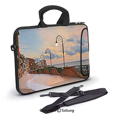 12 inch Laptop Case,Dawn at Ortona Abruzzo Italy Terrace View on The Adriatic Sea Neoprene Laptop Shoulder Bag Sleeve Case with Handle and Carrying & External Side Pocket,for Netbook/MacBook Air Pro