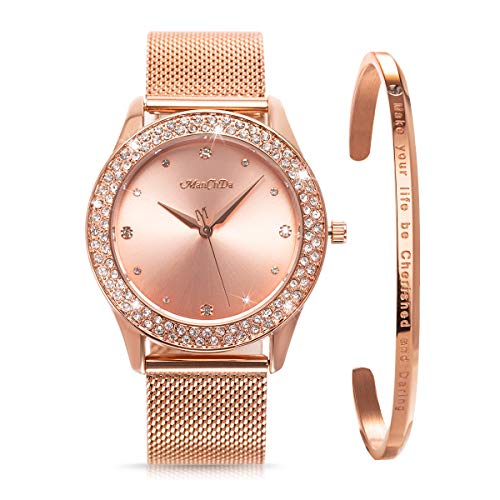 ManChDa Womens Wrist Watch Crystal Mesh Stainless Steel Belt Ladies Quartz Diamond Classic Fashion Romatic + Jewelry Cuff Bracelet Set (2.Rosegold)