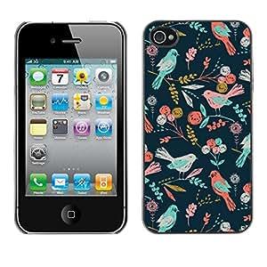 Cubierta de la caja de protección la piel dura para el Apple iPhone 4 / 4S - teal pink green flowers pattern summer