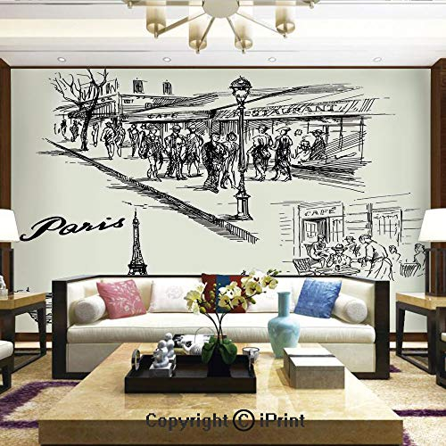 Lionpapa_mural Removable Wall Mural Ideal to Decorate Your Dining Room,Paris Sketch Style Cafe Restaurant Landmark Canal Boat Streetlamp Retro Art Print,Home Decor - 100x144 inches