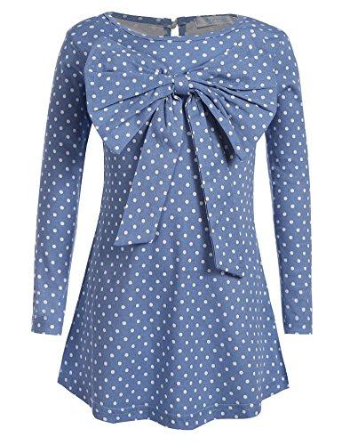 Arshiner Kids Girl O-Neck Long Sleeve Polka Dots Big Bowknot A-line Spring Autumn Cute Dress