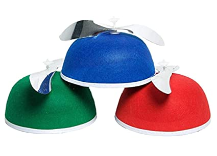 5bd72213 Image Unavailable. Image not available for. Color: Felt Beanie Copter  Helicopter Spinning Propeller Hat Cap Costume Blue