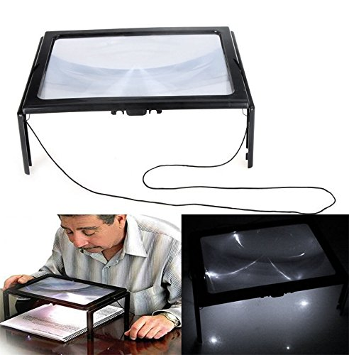 Letter Enlarge Device A4 Size Table Glass Magnifier W/ LED Light 4 pcs 3X Poor Eyesight Enhance Suit for Reading Map, Book, Crafting Small Pieces DIY Etc. Older Best gift BK-S10 (Pablo Table Lamp)
