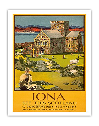 Pacifica Island Art Iona - See this Scotland by MacBraynes Steamers - Celtic Cross at Iona Abbey - Vintage Ocean Liner Travel Poster by Tom Gilfillan c.1928 - Fine Art Print - 11in x 14in