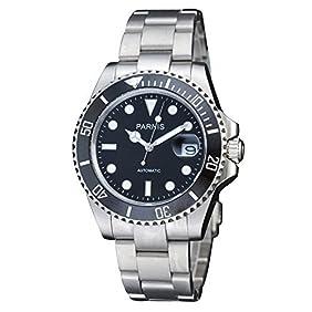 Fanmis Black Dial Sapphire Glass Ceramic Bezel Submariner Automatic Mechanical Men's Women's Silver Watch