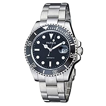 Fanmis Black Dial Sapphire Glass Ceramic Bezel Submariner Automatic Mechanical Men's Women's Silver Watch by Fanmis