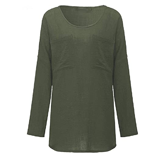 601f4a30451 Amazon.com  OrchidAmor Womens Cotton Linen Thin Section Loose Long-Sleeved  Blouse T-Shirt Womens Cotton Tshirts Pullover Green  Clothing