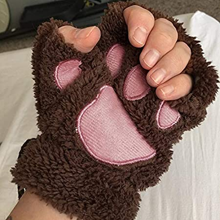 Moorecastla SOFE Women Winter Mittens Cute Claw Gloves Fluffy Bear Paw Mittens Novelty Warm Plush Lady Half Finger Gloves