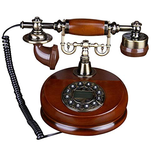 Purelemon New Rotary Dial Telephone Classic Wood Retro Old Fashioned Antique Landline Phones with Classic Metal Bell Handfree and Redial Function for Home and Decor No Battery Needed Not Easy Damage