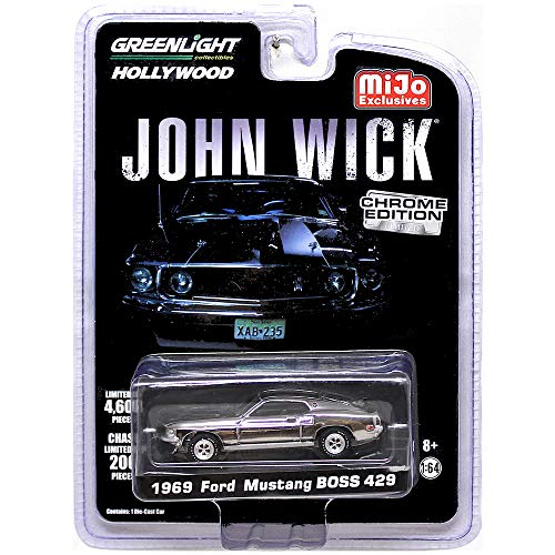 Greenlight John Wick 1969 Ford Mustang BOSS 429 Chrome Hollywood Vehicle 1:64 Scale