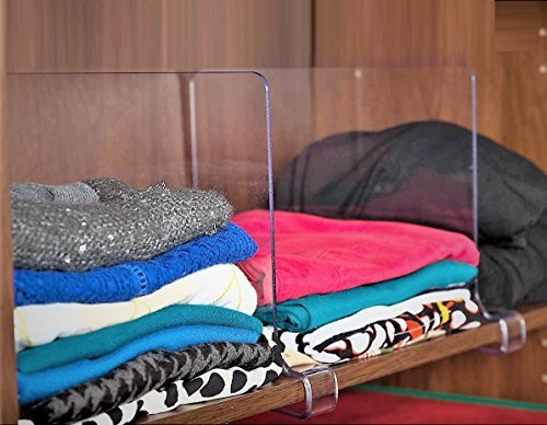 Closet Sweater Organizer (ClosetMate Beautiful 2 Pack Acrylic Shelf Dividers - Unbreakable Crystal Clear Closet Shelves, Organizer Separators, Perfect for Closets Kitchen Bedroom Shelving Organization)