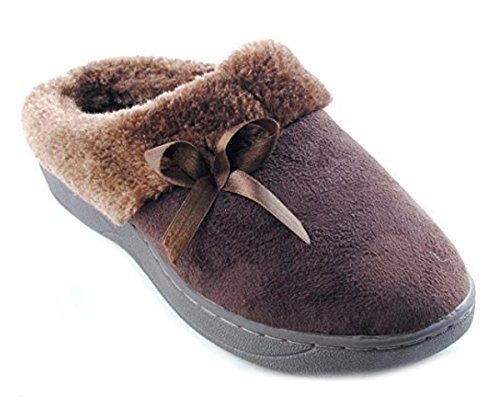 Peluche Chaussons Dames Marron De Garniture r0qOxTrwA