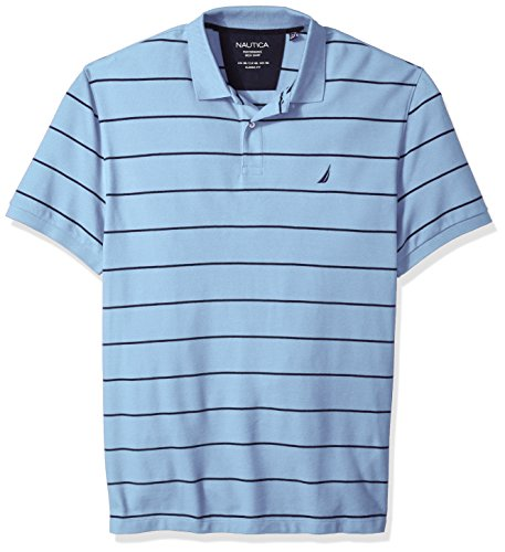 Nautica Men's Big and Tall Classic Short Sleeve Striped Polo Shirt, noon Blue, 3X-Large