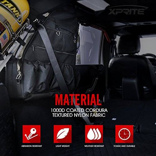 Xprite Rear Roll Bar Storage Bags for 2007-2018 Jeep Wrangler JKU 4 Door Models by Xprite (Image #1)