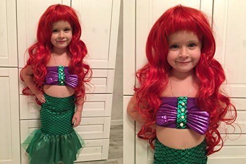 Ani·Lnc Peluca de pelo largo ondulado rojo anime Cosplay pelo sintético para niñas (80 cm, rojo)
