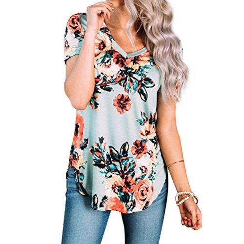 Green Floral Print (Nlife Women Short Sleeve Shirt Floral T-Shirt V Neck Floral Print Tops T Shirt Tee Blouse)