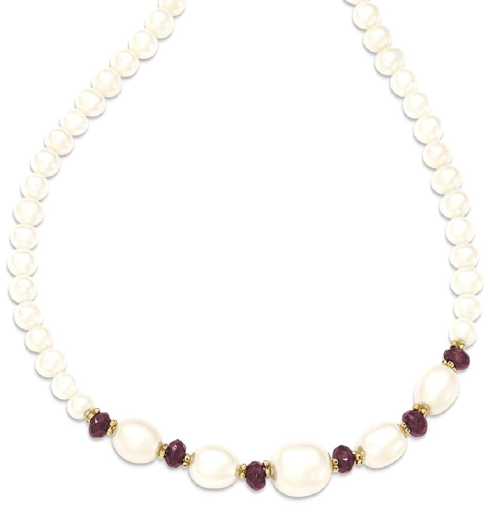 ICE CARATS 14k Yellow Gold Freshwater Cultured Pearl Faceted Red Garnet Bead Chain Necklace Fine Jewelry Gift Set For Women Heart