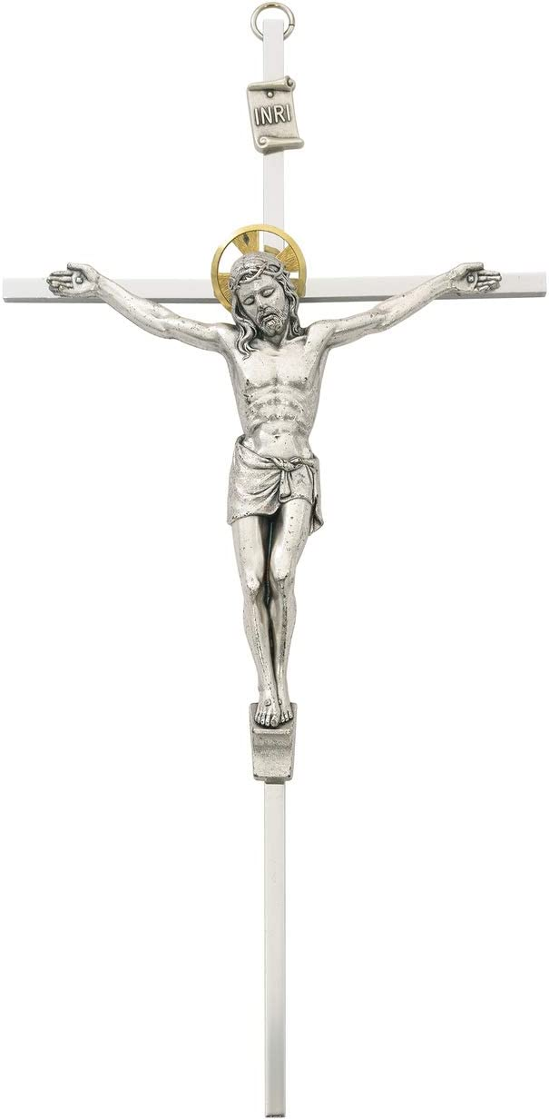 MV001 Silver Tone Metal Crucifix Catholic Wall Cross 10 Inches Long Made in the USA