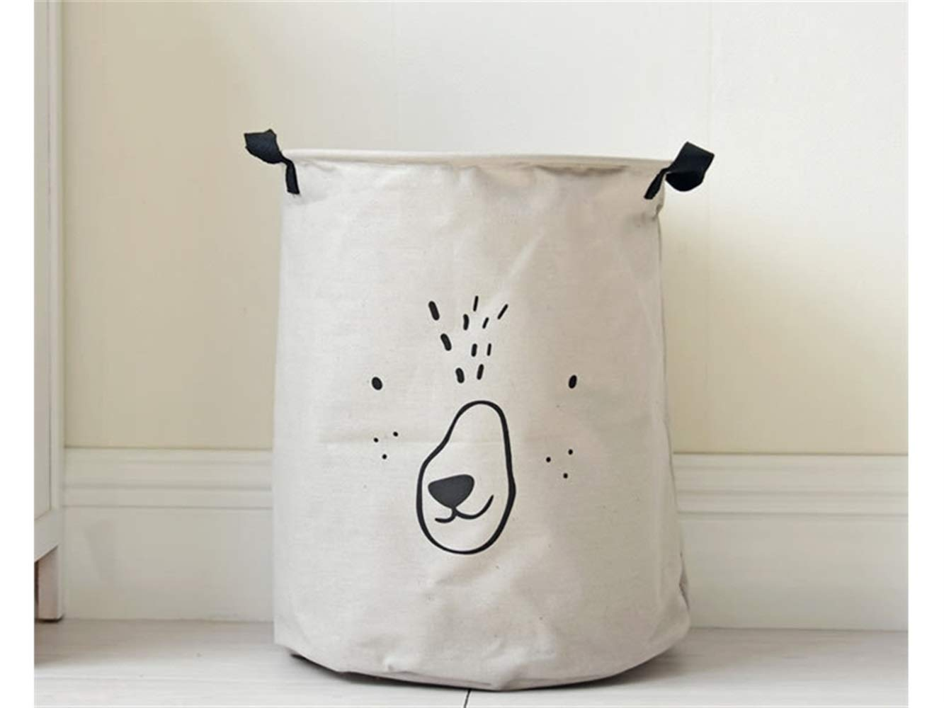 Pullic Animal Pattern Tote Storage Basket Storage Bag Cotton and Linen Storage Box Sundries Storage Bucket(Grey)